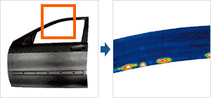 Characterisation of an adhesive joint at a passenger car door