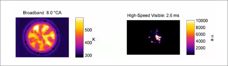Fig.3: Comparing of the combustion images (Left: Infrared camera, Right: Visual camera)