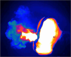 Fig7: Infrared image for combustion examination of an airbag